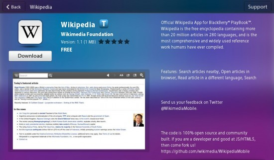 Official Wikipedia App Available for Playbook