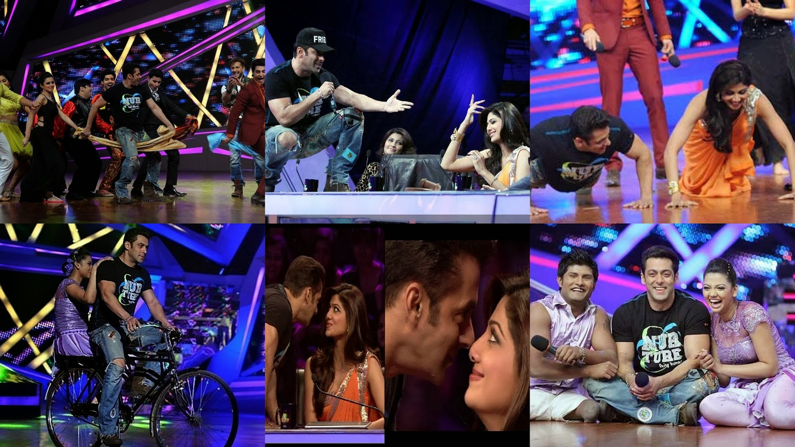 Salman Khan and Daisy Shah with Shilpa Shetty at Nach Baliye set to promote Jai Ho movie