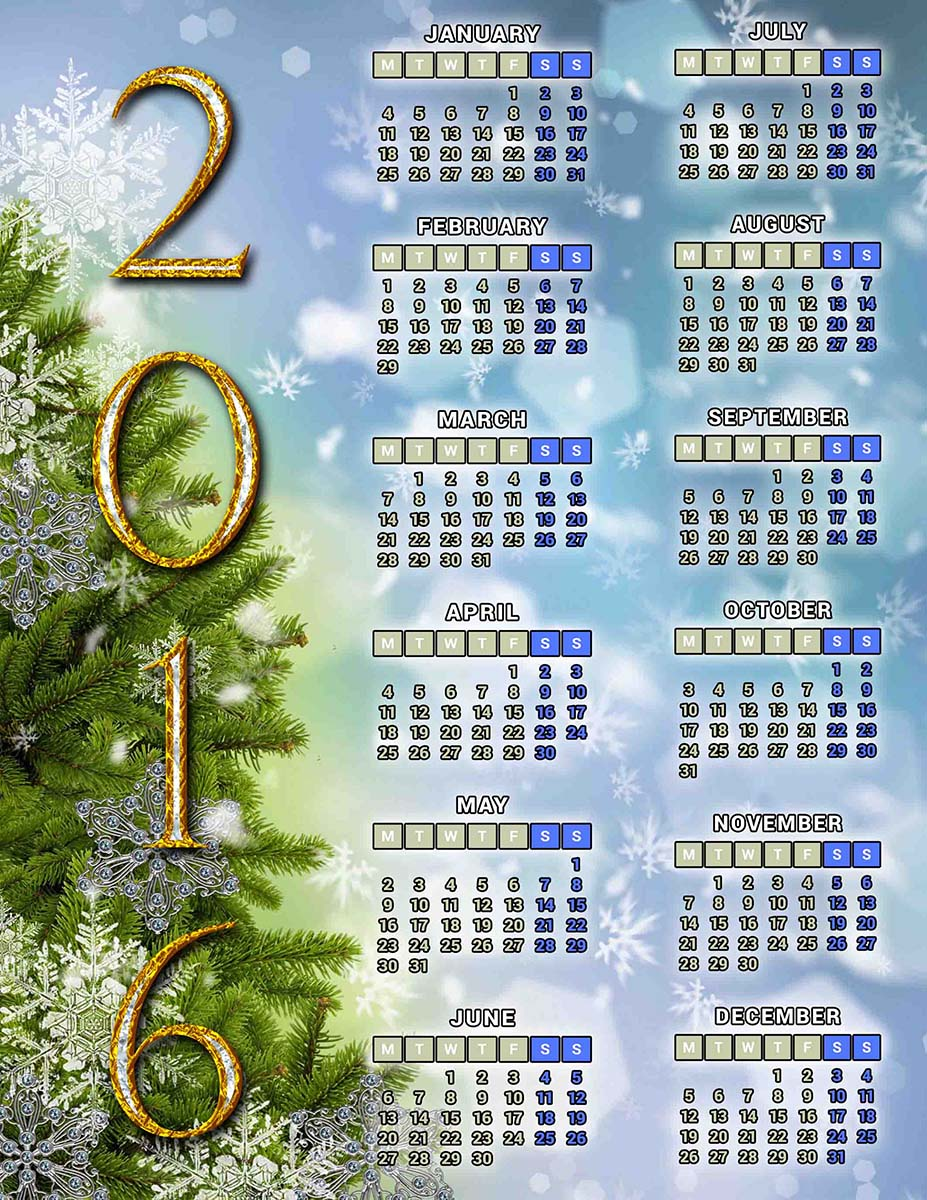 Calendario navideño 2016 - Calendarios gratis para Photoshop