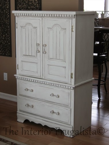 Small Armoire Makeover after chalk paint and dark glaze