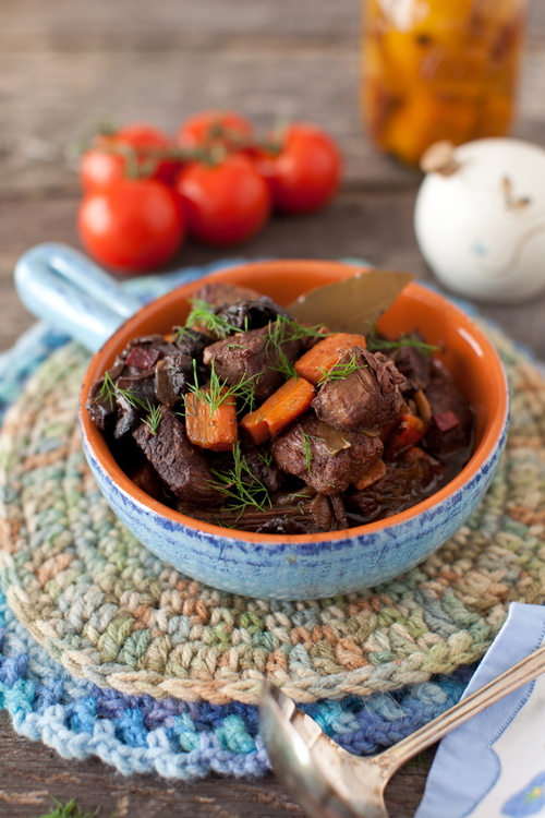 here is a beef stew with the added complexity of wild mushrooms to ...