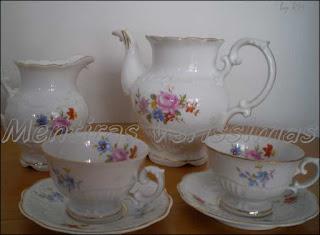 Jogo de chá de porcelana chinesa - Vintage dos anos 1940