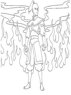Mewarnai Gambar Pangeran Zuko Dalam Serial Avatar The Legend of Aang Sedang Mengeluarkan Jurus Api