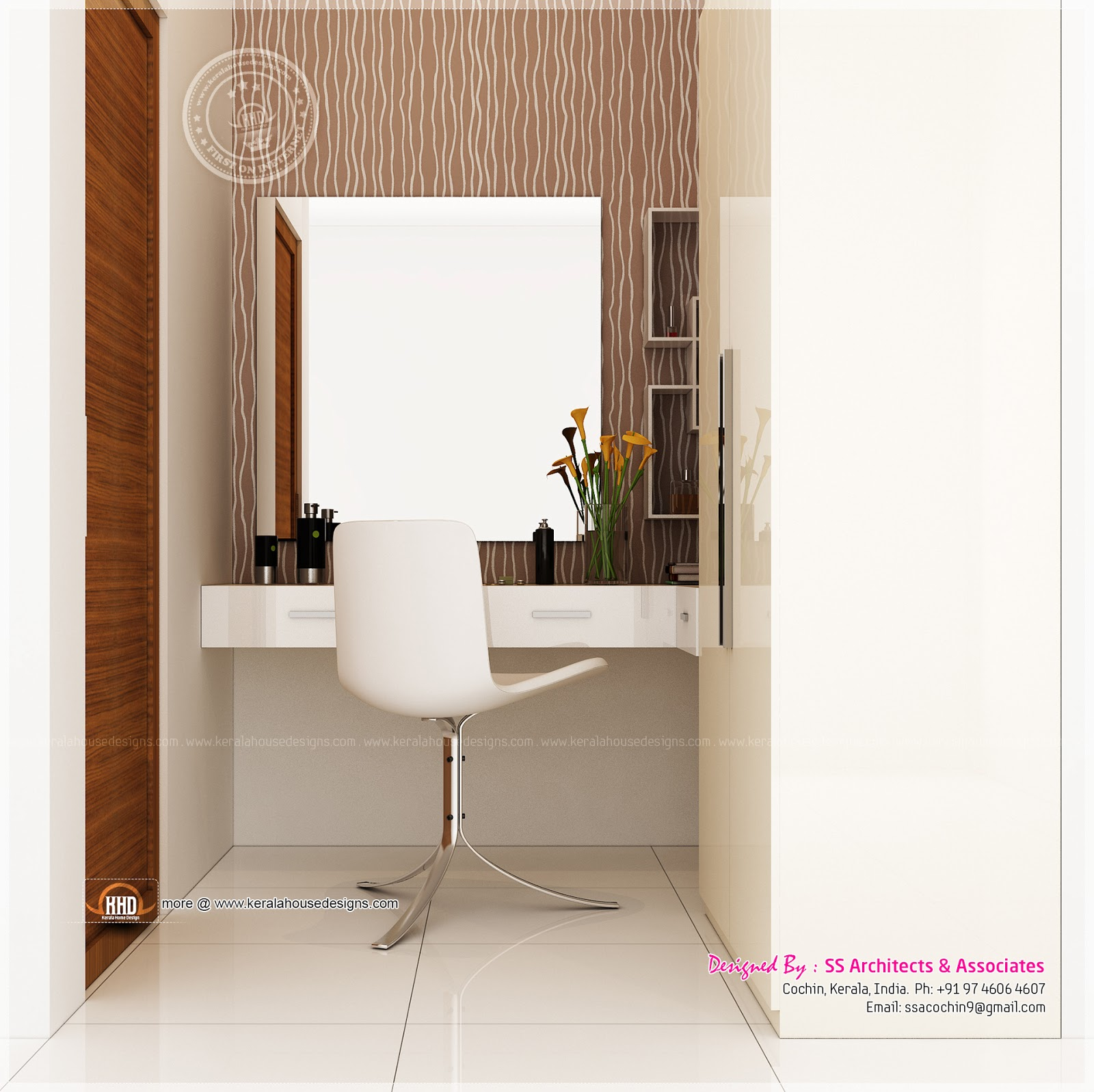 Different dressing table designs by ss architects cochin