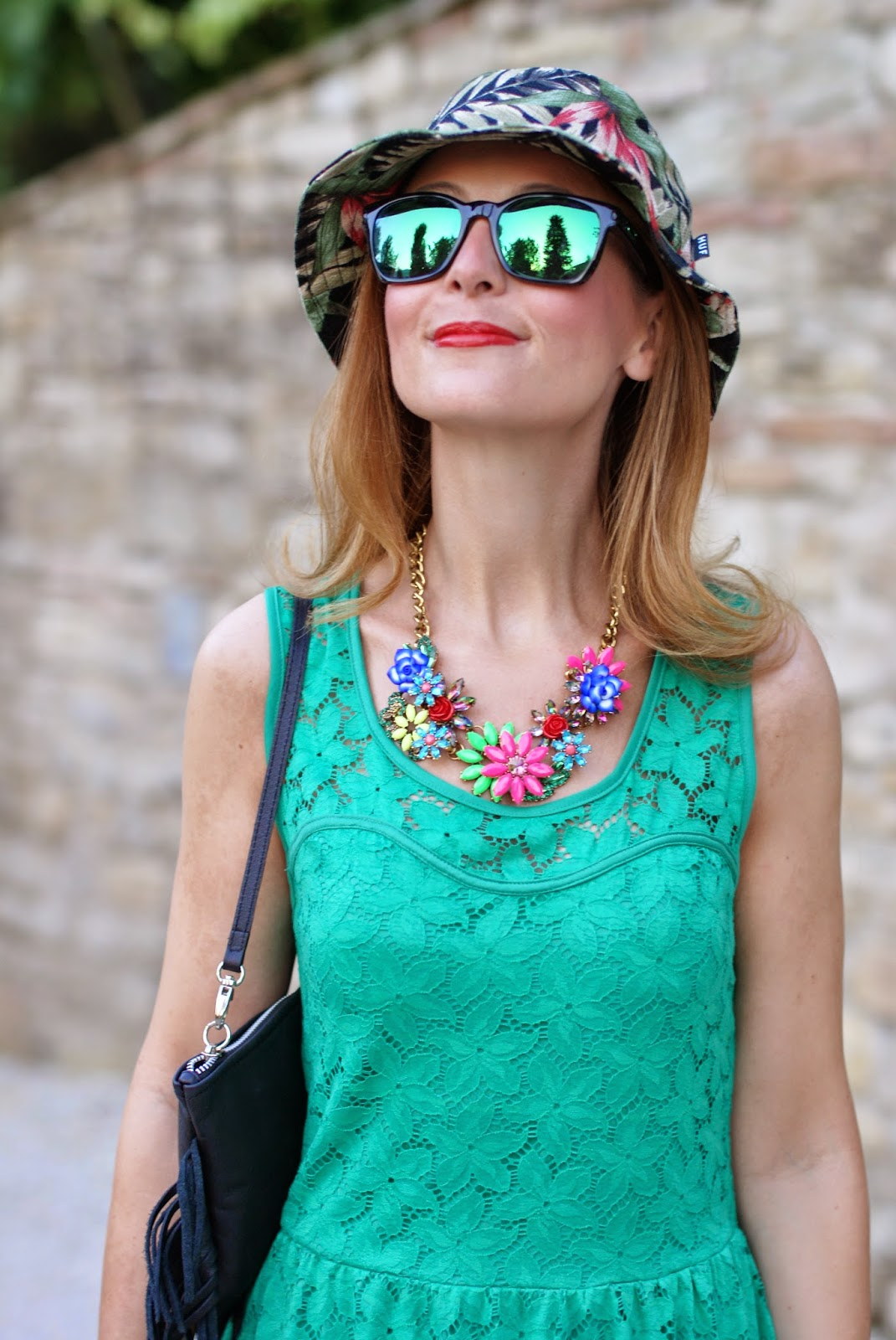 Morgan de toi green lace dress, no brand flowers necklace, fringed bag, tropical bob hat, oakley mirrored green sunglasses, Fashion and Cookies, fashion blogger