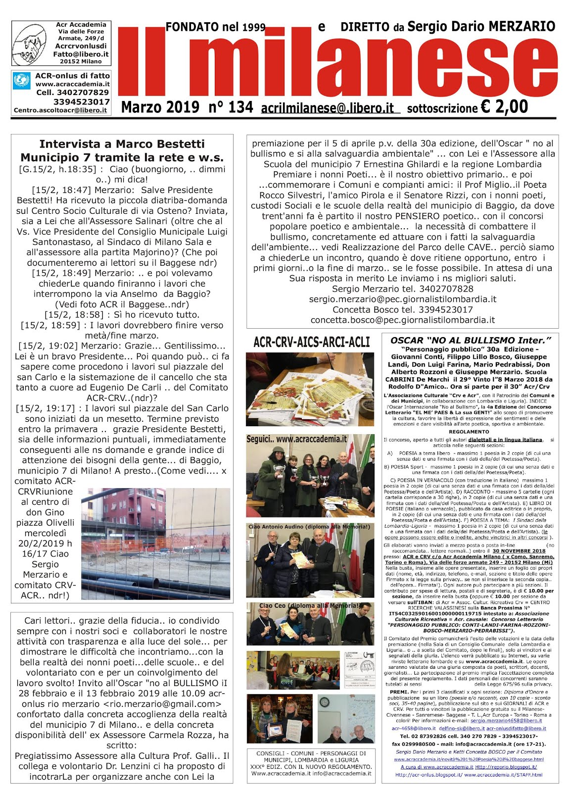 "ACR-CRV e Aics"".. OSCAR NO AL BULLISMO 30a Ediz. PUESII e Artist"".."