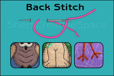 back stitch, back stitch tutorial, applique tutorial, sewing tutorial, embroidery tutorial