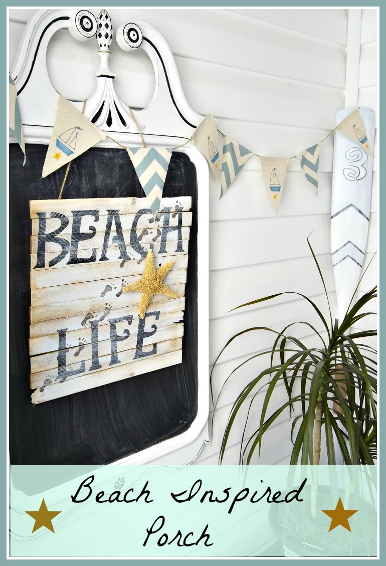 Vintage, Paint and more... Lots of hand crafted beach inspired decor for a porch