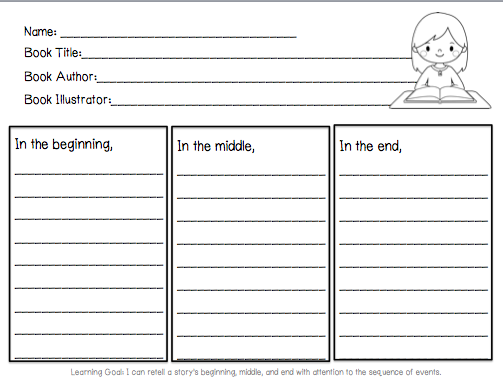 math worksheet : beginning middle end for author visit  library learners : Beginning Middle End Worksheet Kindergarten