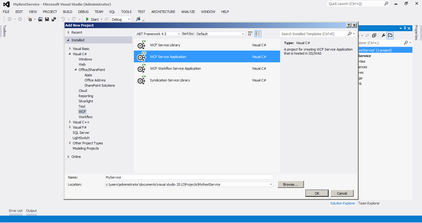 how to create svc file in visual studio