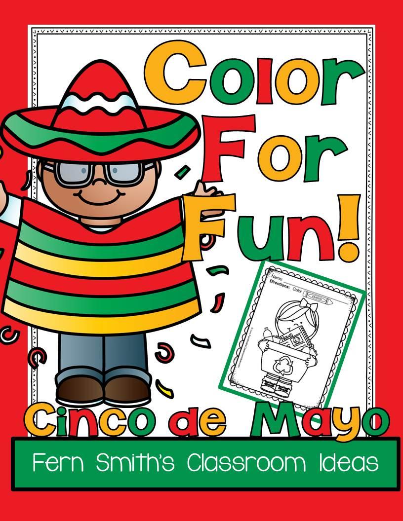 Fern Smith's Classroom Ideas Cinco de Mayo Color For Fun Freebie at TeachersPayTeachers