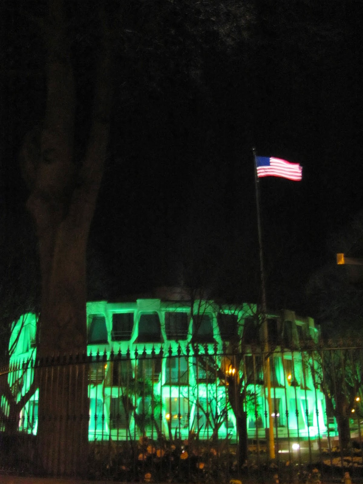 US Embassy lit green on St. Patrick's Day Dublin