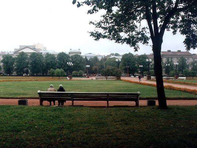 Benches in Lukiškės Square, Vilnius, Lithuania