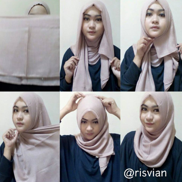 Cara Memakai Jilbab Segi Empat Super Cepat ala Wanita Karir | Review ...