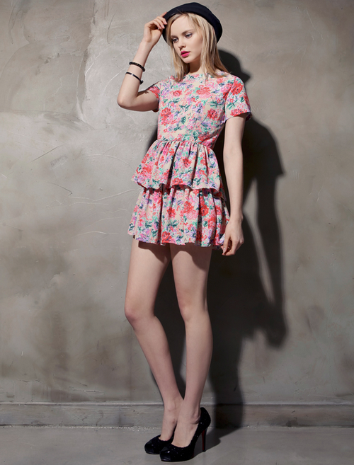 Tiered Bubble Hem Floral Dress