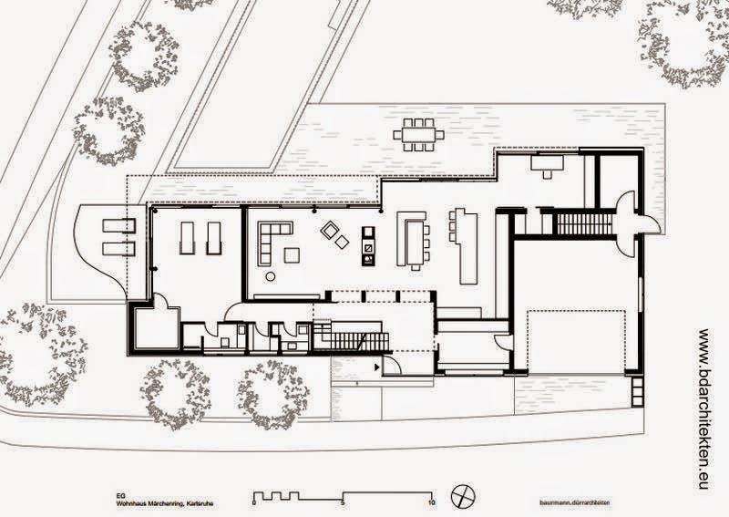 Plano arquitectónico de planta baja de casa contemporánea en Alemania