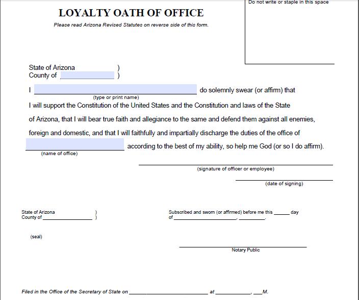 Random find: Arizona's loyalty oath   Blog for Arizona