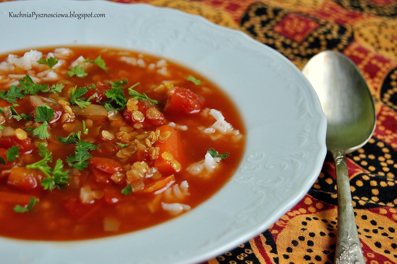 307. Zupa pomidorowa z soczewicą po indyjsku