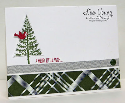 Stampin' Up! Festival of Trees stamp set. Clean and simple card with red cardinal. Handmade Christmas card by Lisa Young, Add Ink and Stamp