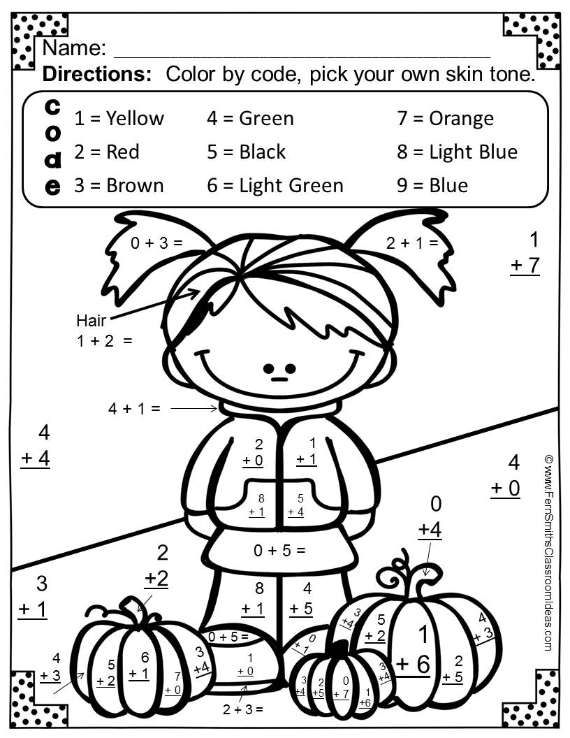 Worksheets Fall Math Worksheets ferns freebie friday free fall fun basic addition facts fern smiths classroom ideas color