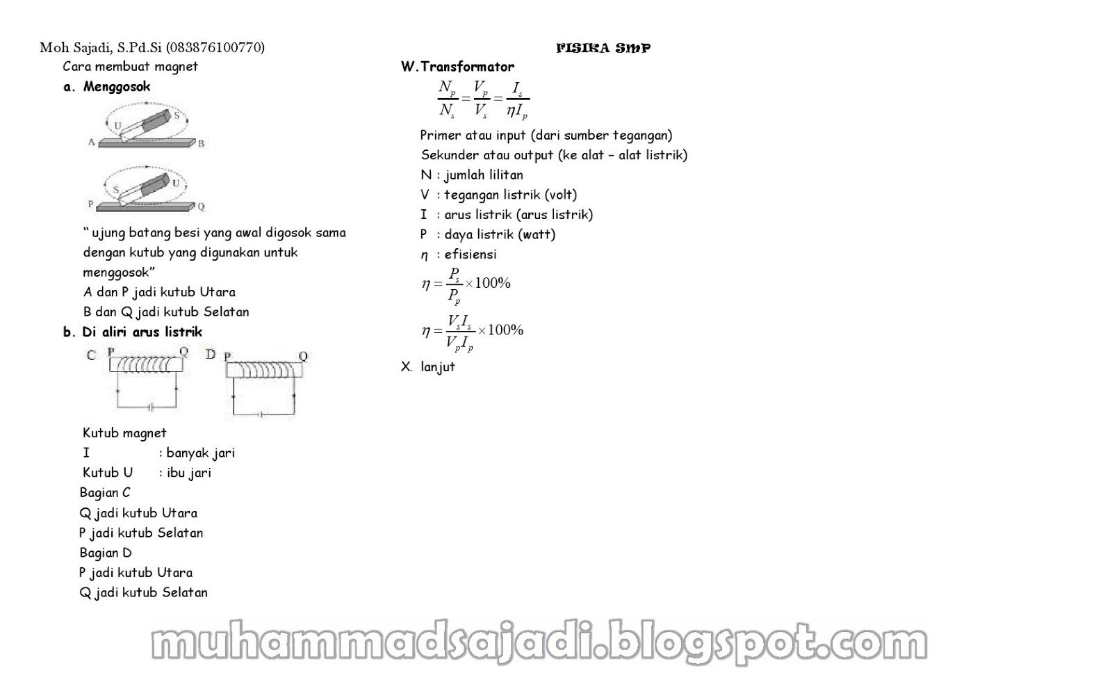 Ringkasan Materi Fisika Smp Muhammad Sajadi