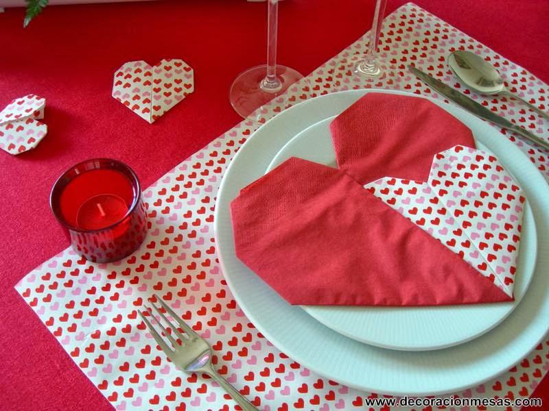 decoracion mesa dia enamorados servilleta corazon
