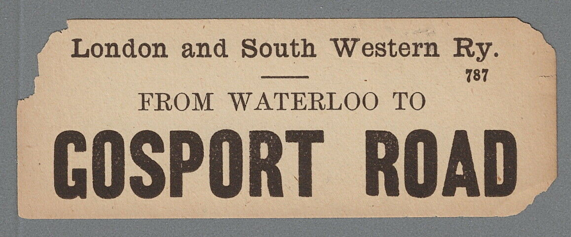 The first parcels label for Gosport Road I have seen