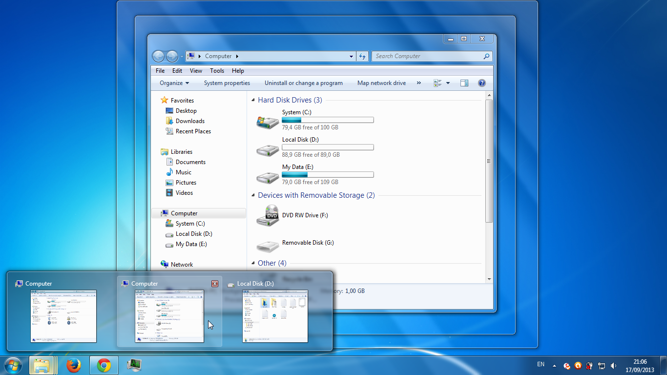 Aero Peek di Windows 7