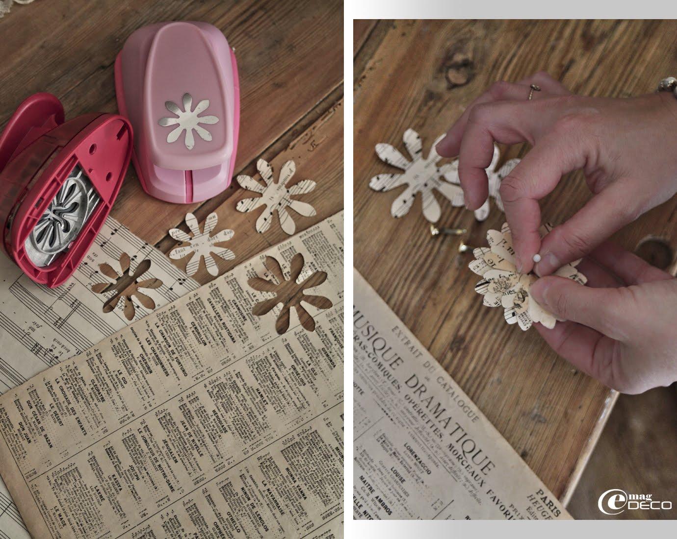 Étape de création d'un guirlande en papier pour un décor de Noël