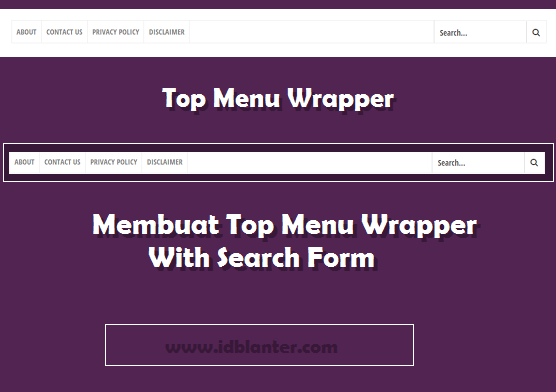 Top Menu With Search Form