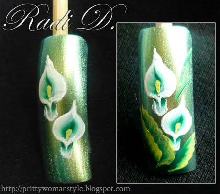 Рисуваме кали с листа върху нокътя