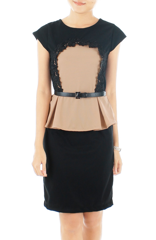 Black Wallgarden Peplum Dress