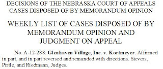 Nebraska Court of Appeals Decision: Glenhaven Village, Inc. v. Kortmeyer
