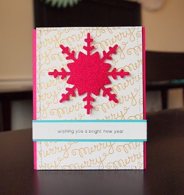 Merry Card by Jocelyn Olson using Holiday Wishes stamps by Newton's Nook Designs