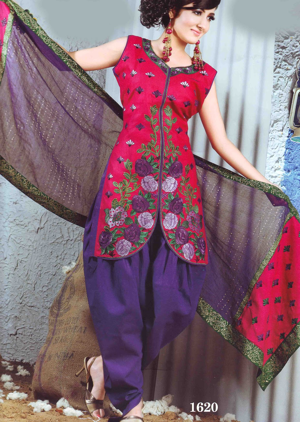 Stunning Dark Pink And Violet Combination Unstiched Salwar Suit Looks Very Beautiful Trendy The Top Having Full Embroidery Work Which