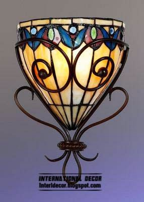 stained glass wall lamp, stained glass in the interior