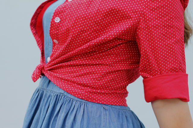 Collectif Virginia polka dot shirt over Oasis denim dress