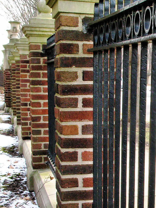 Brick Driveway Image Brick And Wrought Iron Fencing