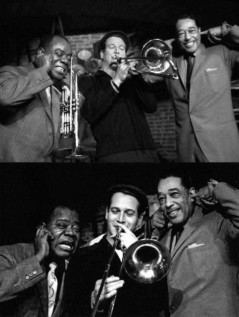 """Louis Armstrong y Duke Ellingtoncon Paul Newman's trombone  en """"Un día volveré (1961)."""