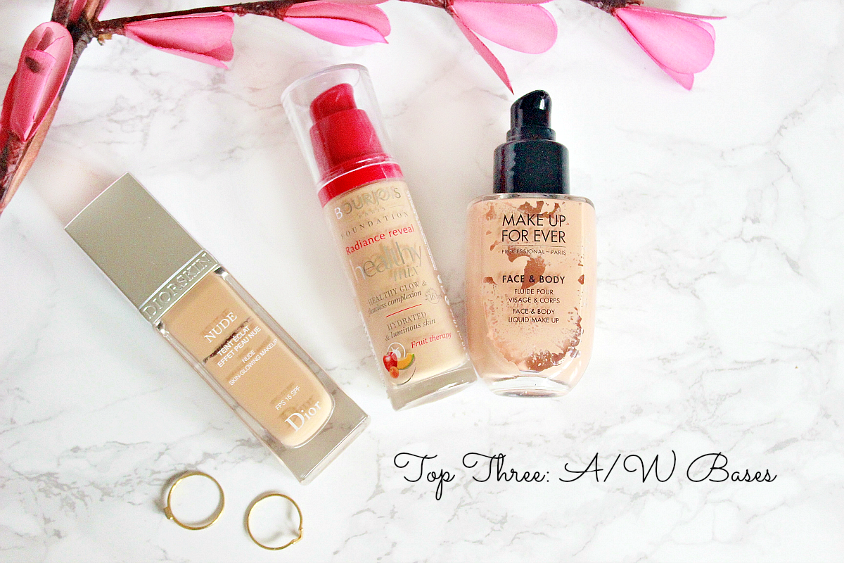 top three daily bases diorskin nude foundation 31, bourjois healthy mix 34, make up for ever foundation in 32