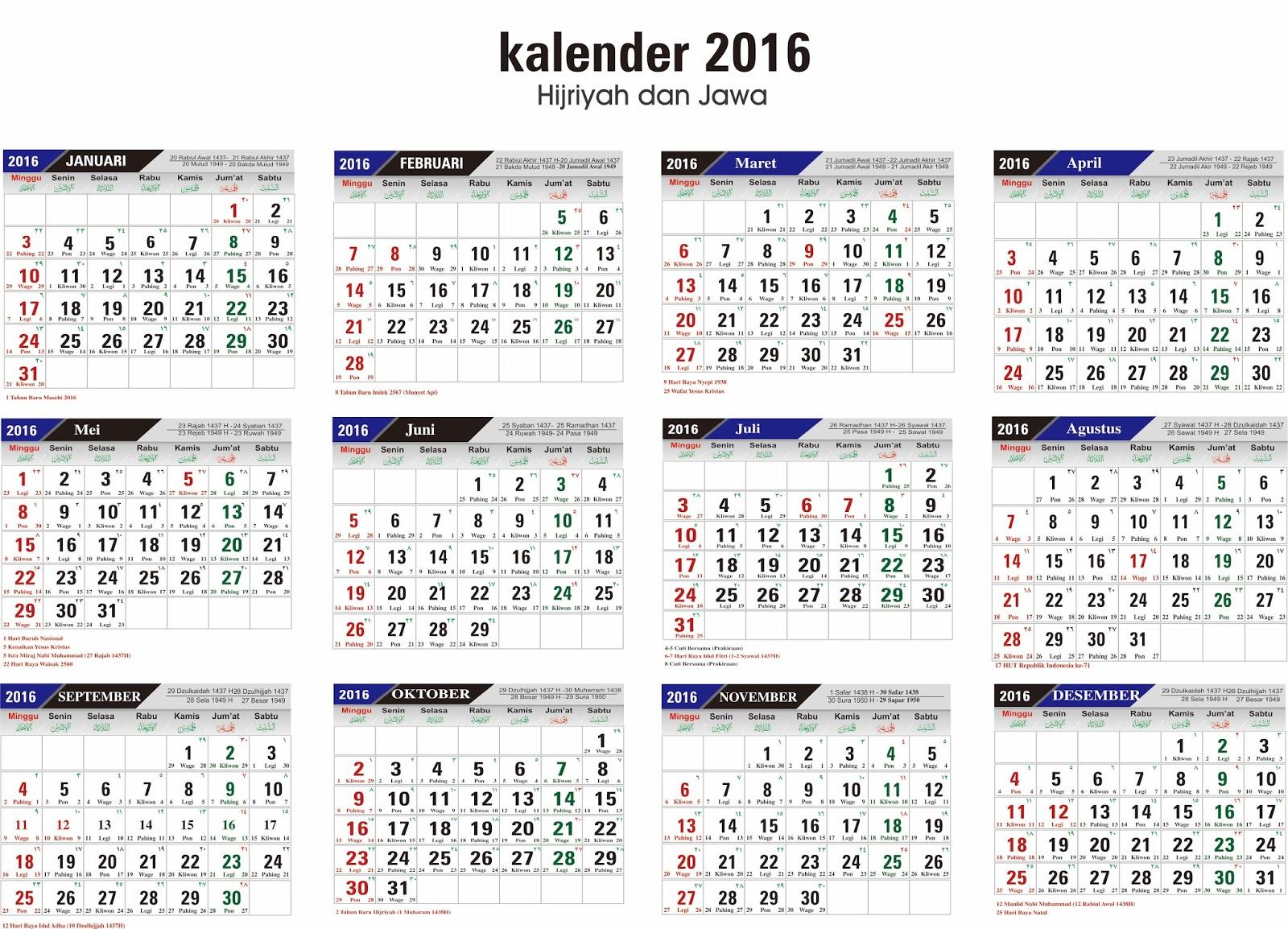 Download Template Kalender 2016 Lengkap Format CDR Editable - Berbagi ...