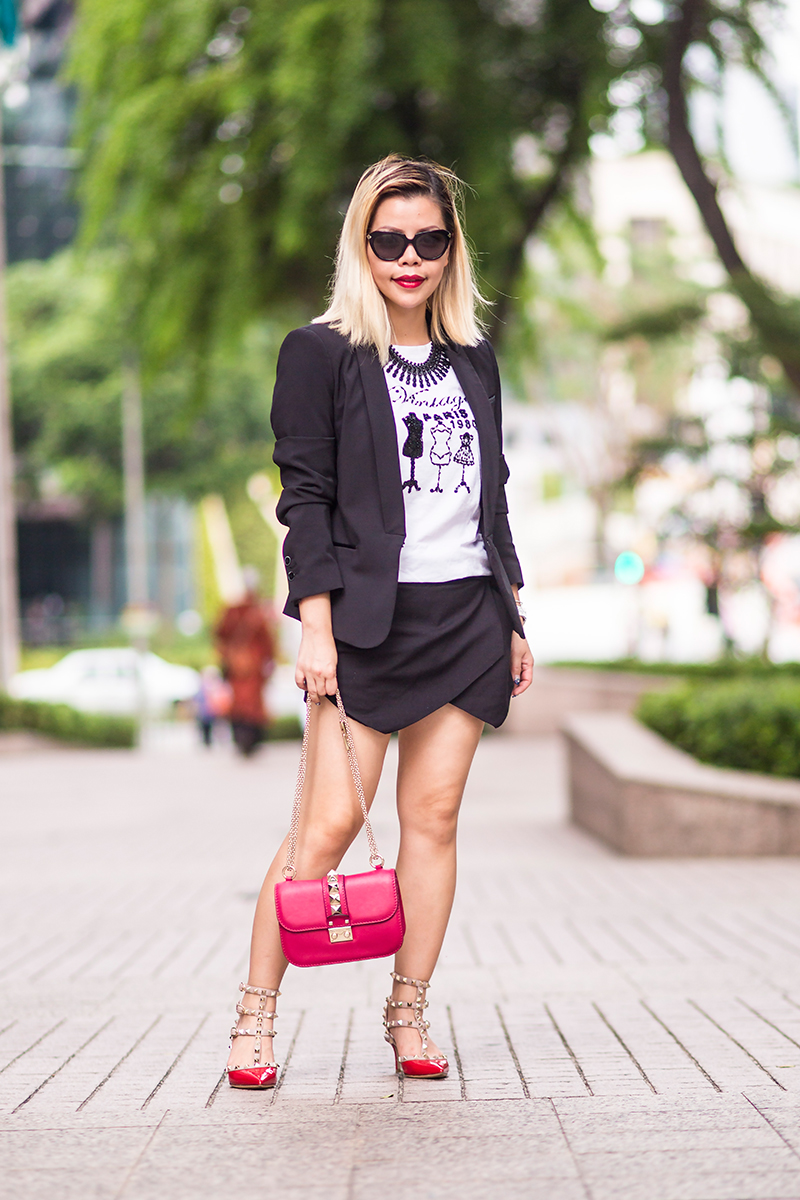 Crystal Phuong- Singapore Fashion Blogger- Monday streetstyle in skorts suit