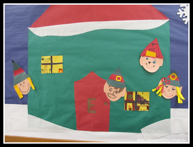 photo of: Little Elf Workshop Bulletin Board (Christmas Bulletin Board RoundUP via RainbowsWithinReach)