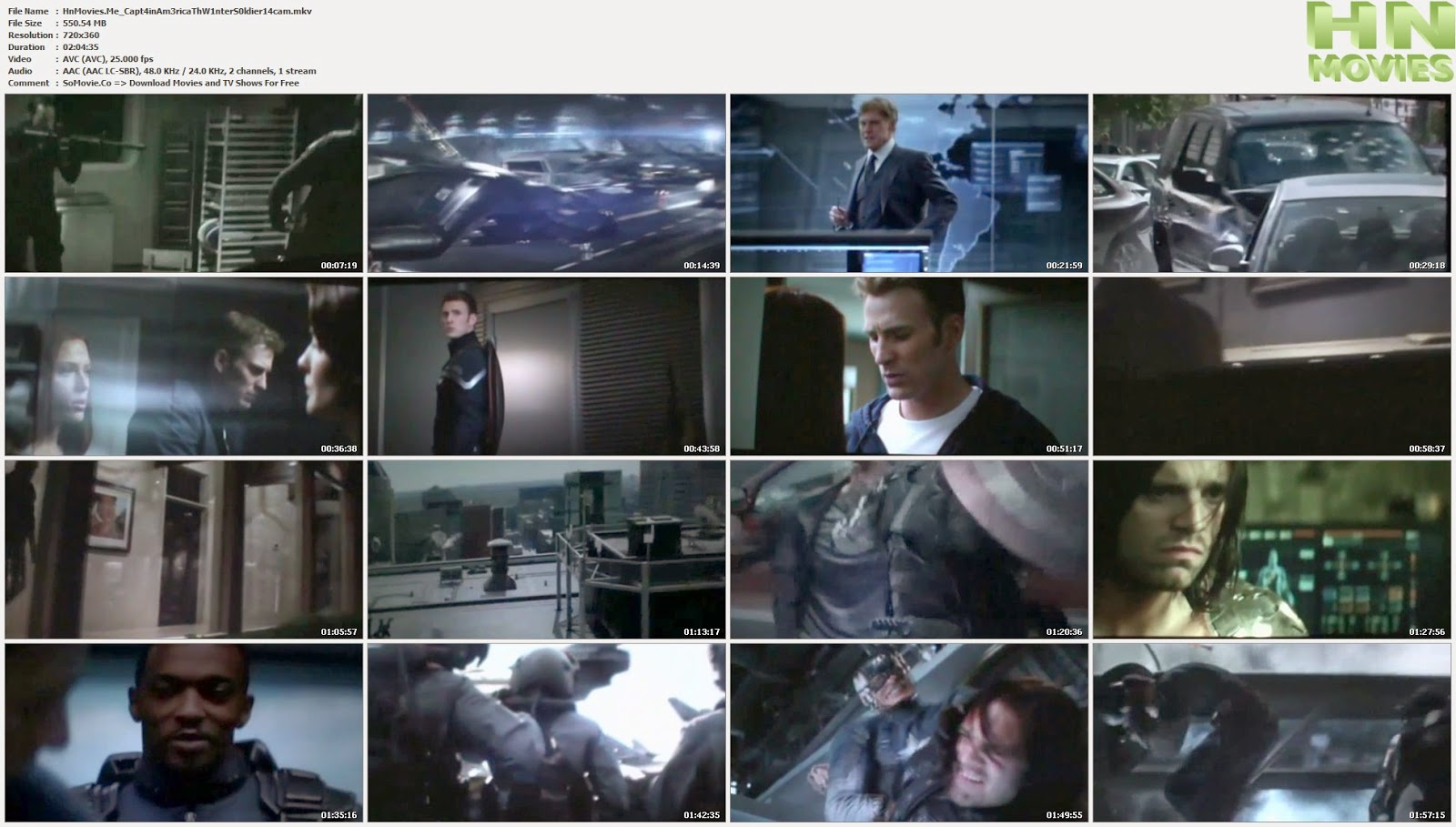 Captain America The Winter Soldier (2014) CAM 550MB