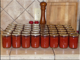 two days work resulting in forty-eight jars of pizza sauce