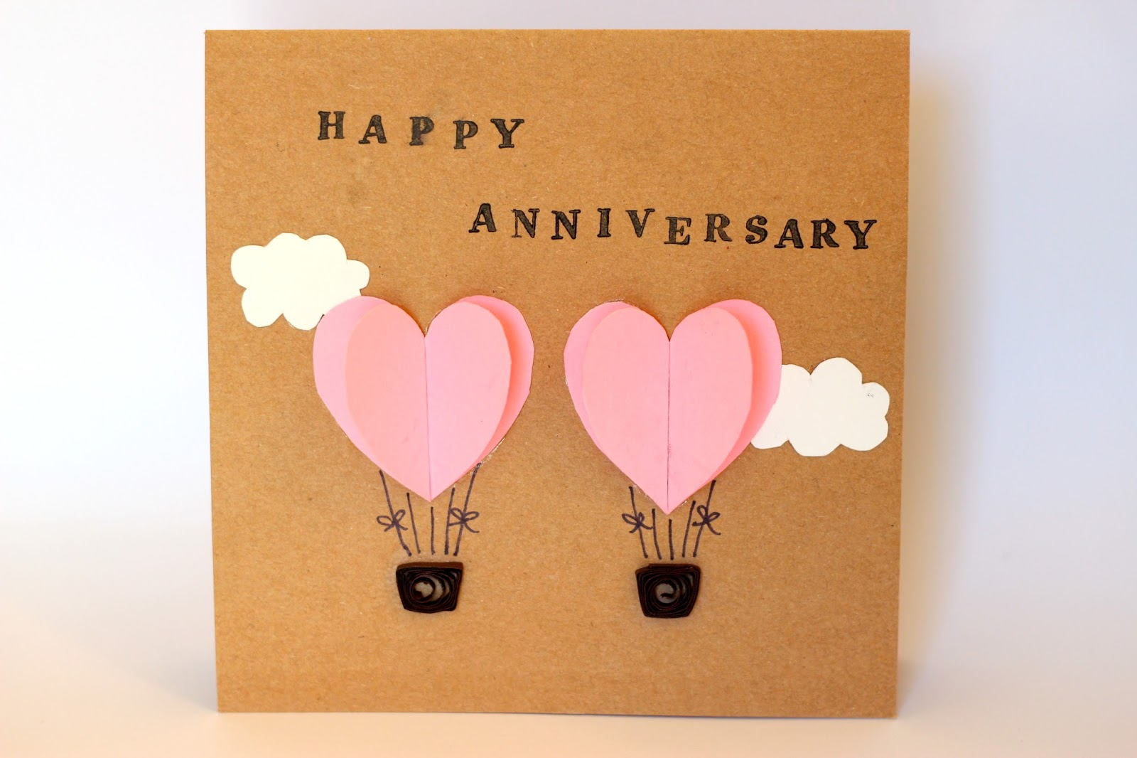 Doleenoted anniversary card with hot air balloons