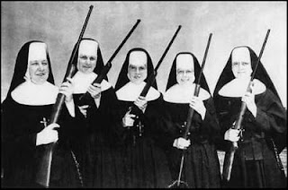 Nuns with guns black and white angry vengeful rifles