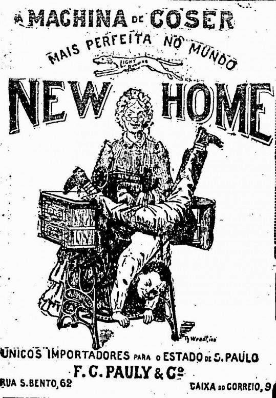 Propaganda das Máquinas de Costura (Coser) New Home, apresentada em 1906.