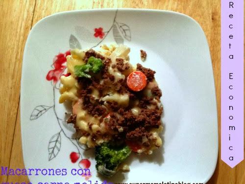 Macarrones con queso,carne molida y verduras