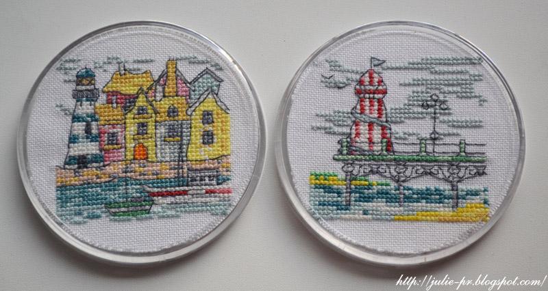 подстаканники с вышивкой, вышивка крестом, маяк, Diane Machin Beside the seaside, Cross Stitch Crazy № 166